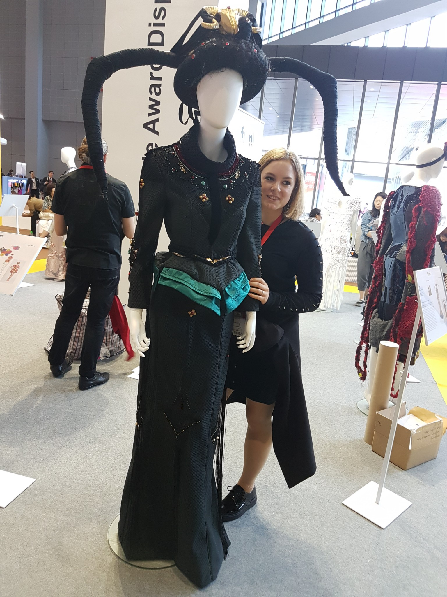 Mona with her design at Intertextile